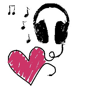 Headphones and heart graphic
